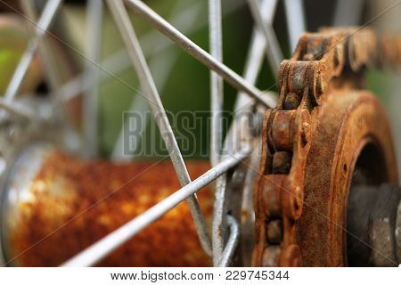 Closeup Of Rusty Steel Chain Of A Bicycle