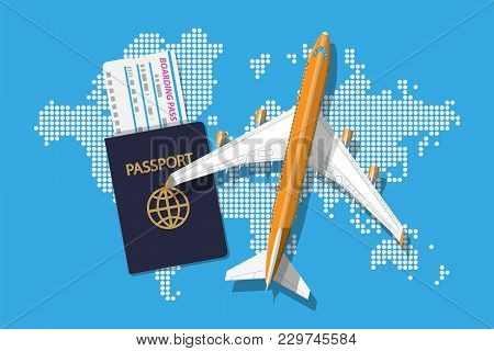 Airplane Top View. Passenger Or Commercial Jet, Boarding Pass And Passport. World Map In Dots. Carto