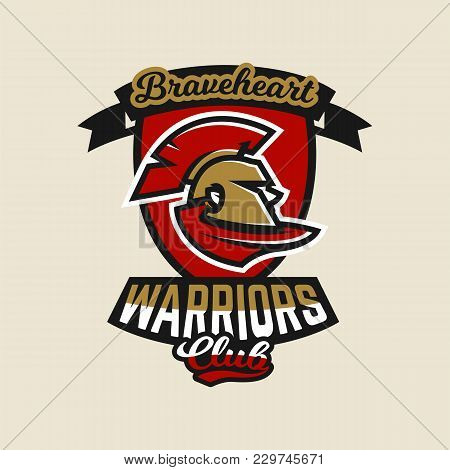 Colorful Logo, Emblem, Spartan Helmet And Cloak, Ancient Greek Warrior, A Roman Soldier. Vector Illu