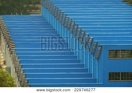 Blue Sharp Pattern Of The Factory Roof