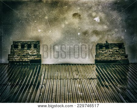 Old Brick Chimneys On The Roof Of The House. Fireplace Chimneys. Old Architecture. Vintage Photo. St