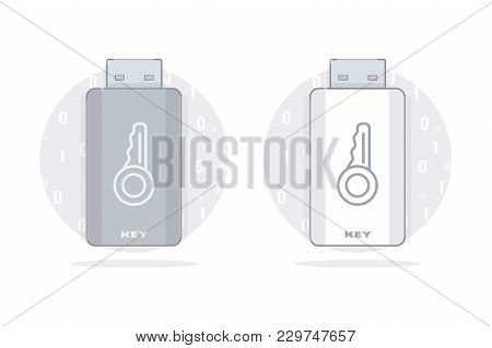 Usb Key. Flash Drive Memory. Vector Set. Isolated On White Background.
