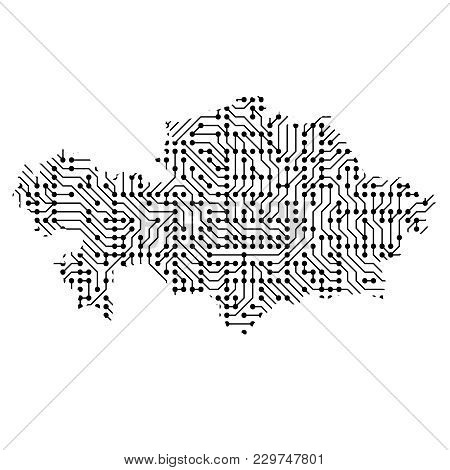 Abstract Schematic Map Of Kazakhstan From The Black Printed Board, Chip And Radio Component Of Vecto