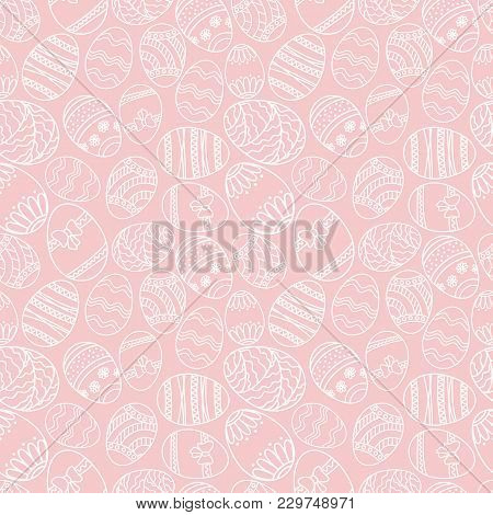 Vector Seamless Simple Pattern With Ornamental Eggs. Easter Holiday Green Background For Printing On