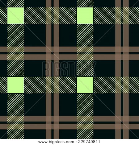 Tartan Pattern. Scottish Traditional Fabric Seamless Vector. White On Black Background. Suitable For