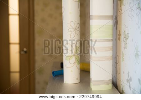 Two Rolls Of Wallpaper Stand Against The Wall With Floral Wallpape