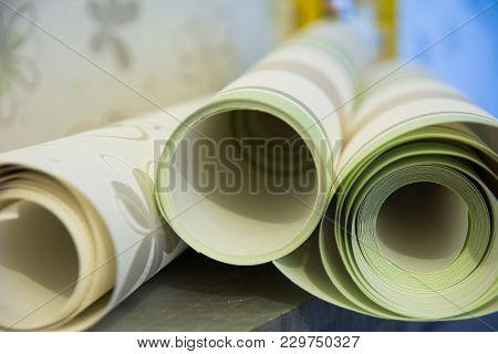 Three Rolls Of Vinyl Wallpaper For Room Repair