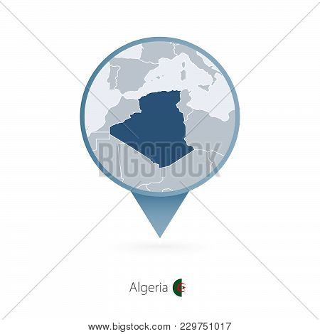 Map Pin With Detailed Map Of Algeria And Neighboring Countries.