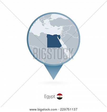 Map Pin With Detailed Map Of Egypt And Neighboring Countries.