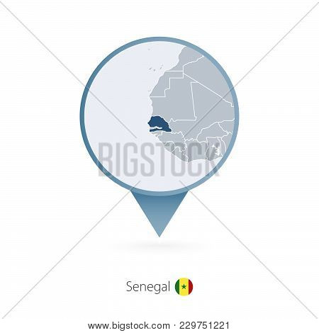 Map Pin With Detailed Map Of Senegal And Neighboring Countries.