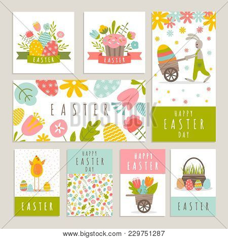 Easter Day Labels Set Illustration With Cute Little Rabbit Eggs And Other Holiday