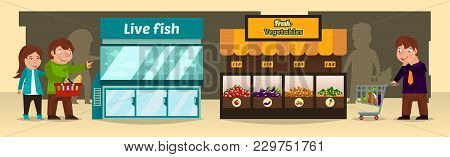 Vector Illustration, Shoppers Make Purchases In Shops. Bench Of With Fresh Vegetables, An Aquarium W