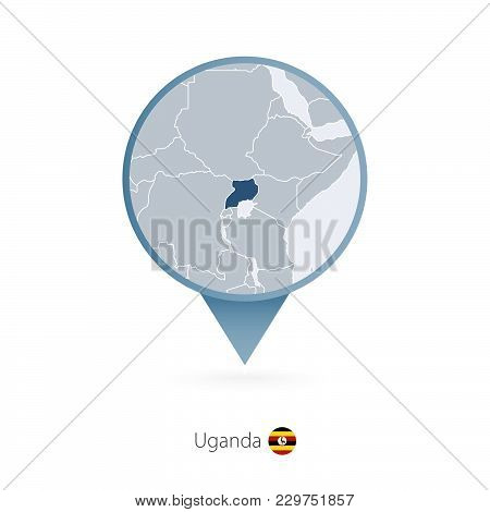 Map Pin With Detailed Map Of Uganda And Neighboring Countries.