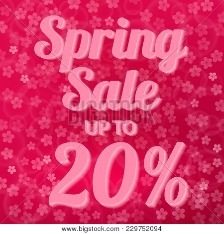 Spring Sale Banner 20% Discount Sign On Hot Pink Background With Bokeh And Cherry Blossom Flowers Co