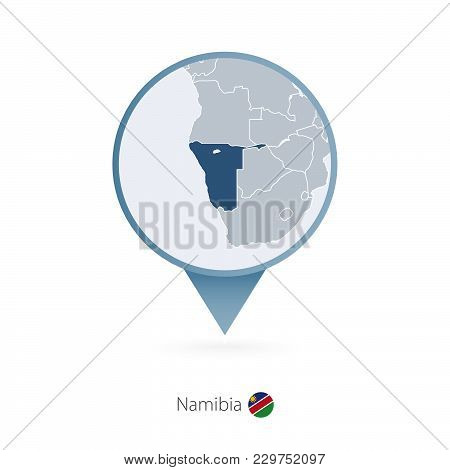 Map Pin With Detailed Map Of Namibia And Neighboring Countries.