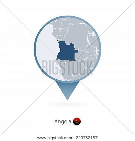Map Pin With Detailed Map Of Angola And Neighboring Countries.