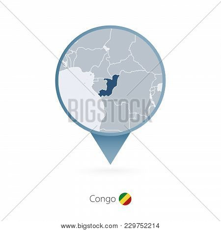 Map Pin With Detailed Map Of Congo And Neighboring Countries.