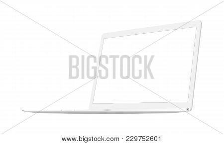 White Laptop Mock Up Isolated - 34 Right View. Vector Illustration