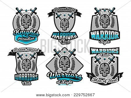 Set, Collection Of Logos, Emblems, Warrior Skull On The Background Of Two Crossed Swords. Vector Ill