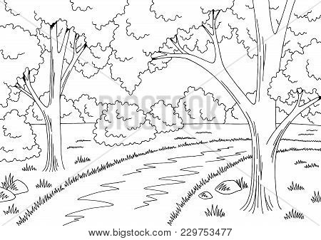 Forest Road Graphic Black White Landscape Sketch Illustration Vector