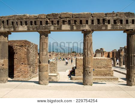 Pompeii, Italy - June 15, 2017: Ancient City Of Pompeii, Italy. Roman Town Destroyed By Vesuvius Vol