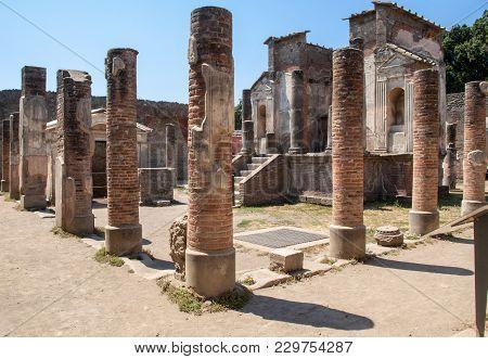 Ancient City Of Pompeii, Italy. Roman Town Destroyed By Vesuvius Volcano.