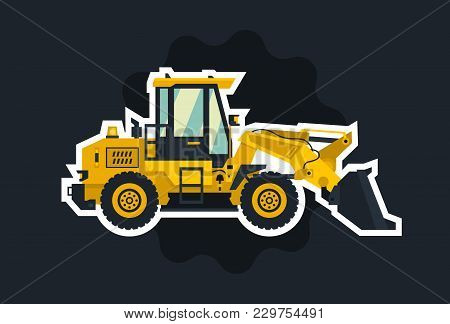 Front-end Loader. The Object Circled White Outline On A Dark Background.. Construction Machinery. Fl
