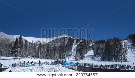Flagstaff,Az,USA - 2.24.18:  Arizona Snowbowl is an alpine ski resort in the southwest, located on the San Francisco Peaks of northern Arizona, seven miles (11 km) north of Flagstaff.