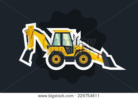 Yellow Backhoe Loader. The Object Circled White Outline On A Dark Background. Construction Machinery