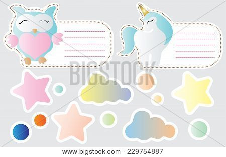 Set Of Cute Blank Card And Stickers With A A Cartoon Cute Toy Owl, Unicorn, Cloud, Circles And Star