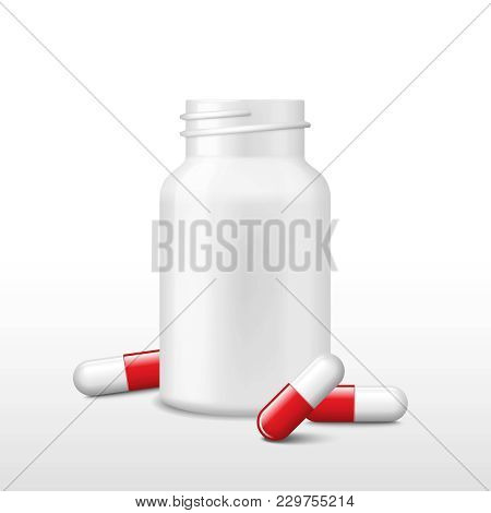 Opened White Medicine Bottle And Few Red Pills. Vector Realistic Tablets, Capsules, Drug Of Painkill