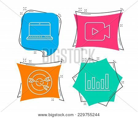 Set Of Video Camera, Targeting And Notebook Icons. Column Chart Sign. Movie Or Cinema, Target With A