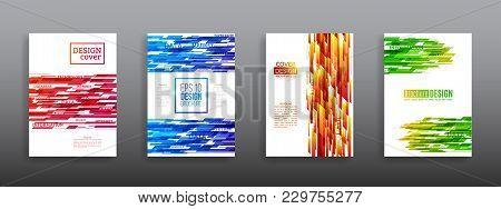 Technology Line Brochure Book Cover Template Layout. Abstract Geometric Cover Flyer Magazine. Prospe