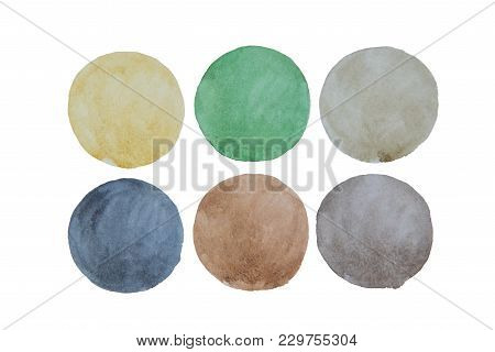 A Palette Of Bright Watercolor Colorful Colors In Circles On A White Background