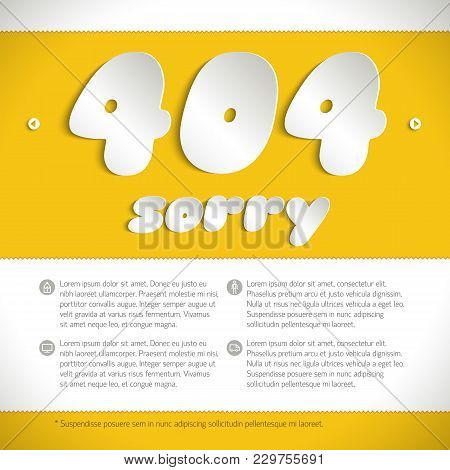 Template For Web Page With Message About  Connection Error Number 404 Made On Yellow Background By L