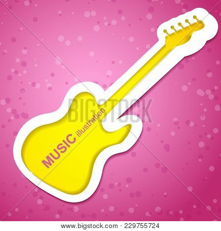 Yellow And White Music Guitar Isolated On Pink Background With Spots In Flat Style Vector Illustrati