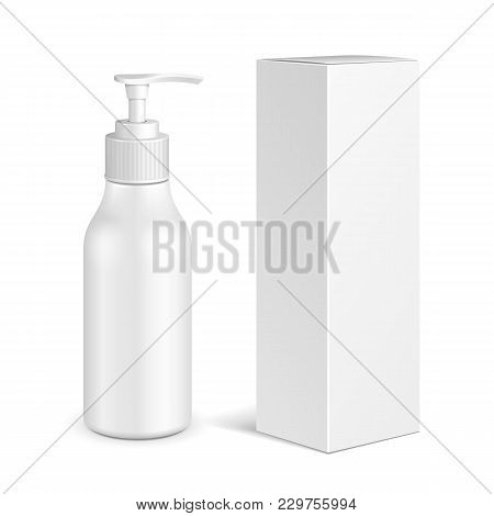 Cosmetic, Hygiene, Medical Grayscale Plastic Bottle Of Gel, Liquid Soap, Lotion, Cream, Shampoo With