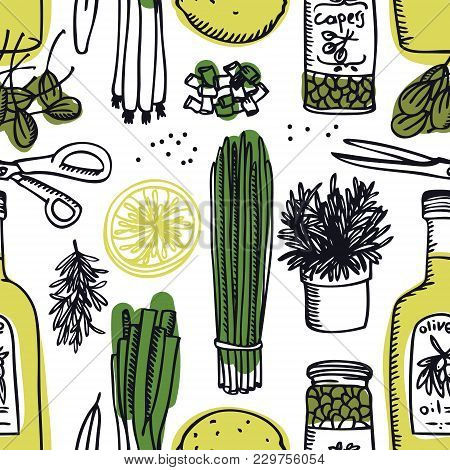 Food Collection Olive Oil And Capers, Spring Onion And Rosemary Seamless Pattern Set
