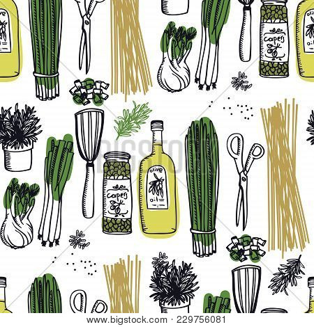 Food Collection Olive Oil And Capers, Spring Onion And Pasta Seamless Pattern Set