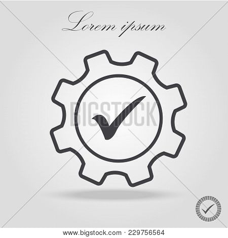 Core Values Expertise Icon Gear Check Line Symbol. Isolated Vector Illustration On Company Values Ch
