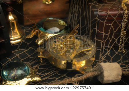 Antique  Rare Items Collections,  Navigation Compass, Sandglass, Armillary Sphere  And Globoe On Net