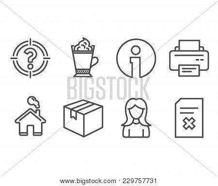 Set Of Parcel, Latte Coffee And Woman Icons. Printer, Headhunter And Delete File Signs. Shipping Box