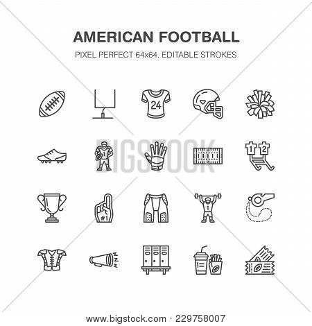 American Football, Rugby Vector Flat Line Icons. Sport Game Elements - Ball, Field, Player, Helmet,
