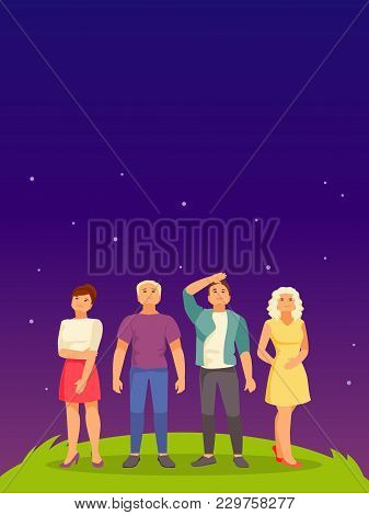 Group Of People Waiting Looking Up At The Starry Sky. Poster Template With Space For Text. Vector Il