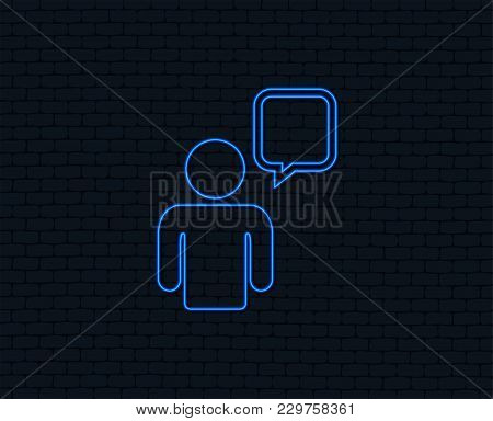 Neon Light. Chat Sign Icon. Speech Bubble Symbol. Chat Bubble With Human. Glowing Graphic Design. Br