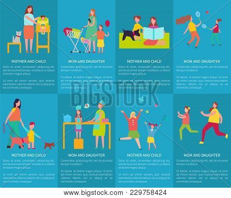 Mom And Daughter, Mother With Child Vector Posters With Text, Female Parent Feeding Infant, Doing Sh