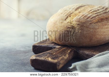 Freshly Baked Bread From Leaven, With Copy Space. Organic Bread. Selective Focus