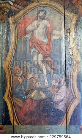VELIKA MLAKA, CROATIA - MARCH 28: Resurrection of Christ, altarpiece in the Church of the Saint Barbara in Velika Mlaka, Croatia on March 28, 2017.