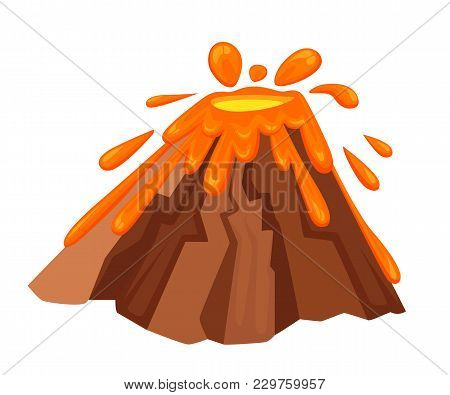 Volcano Eruption With Hot Lava Illustration. Geological Disasters In Cartoon Style. Cataclysm Color