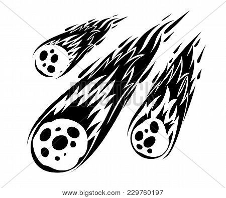 Silhouette Of Flame Meteorite. Meteor Rain Fall On Planet In Cartoon Style. Cataclysm Icon. Vector I
